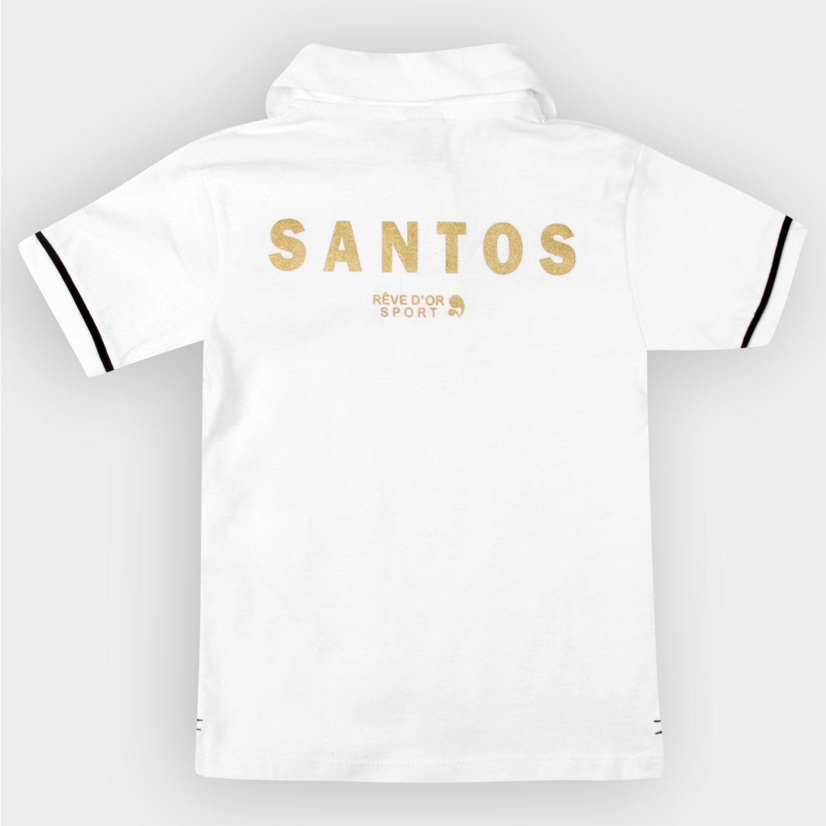 Camisa Polo Santos Infantil Branca - Preto e Branco - Compre Agora ... 612a62fcaa424