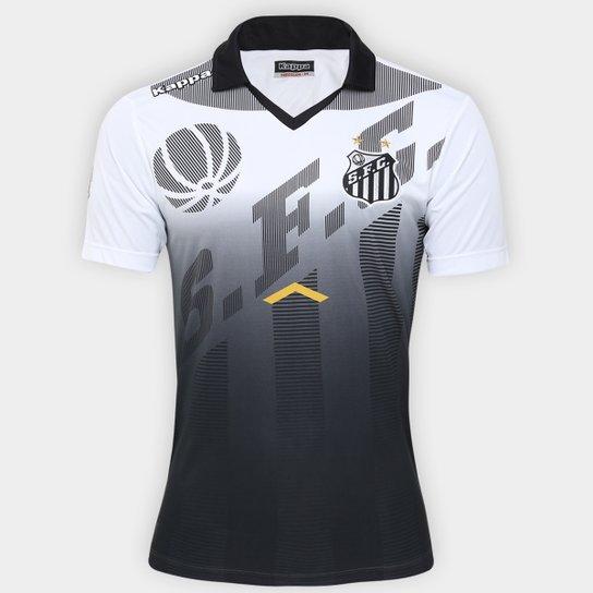 Camisa Polo Santos Kappa Comissão Técnica Viagem 17/18 Masculina - Preto+Branco