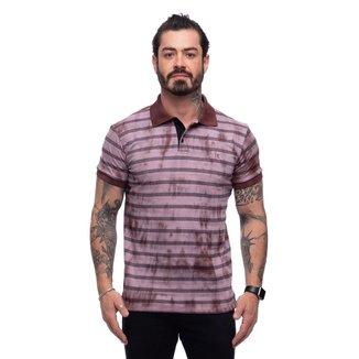 Camisa Polo Teodoro Listrada Tie Die Jacquard Slim Masculina