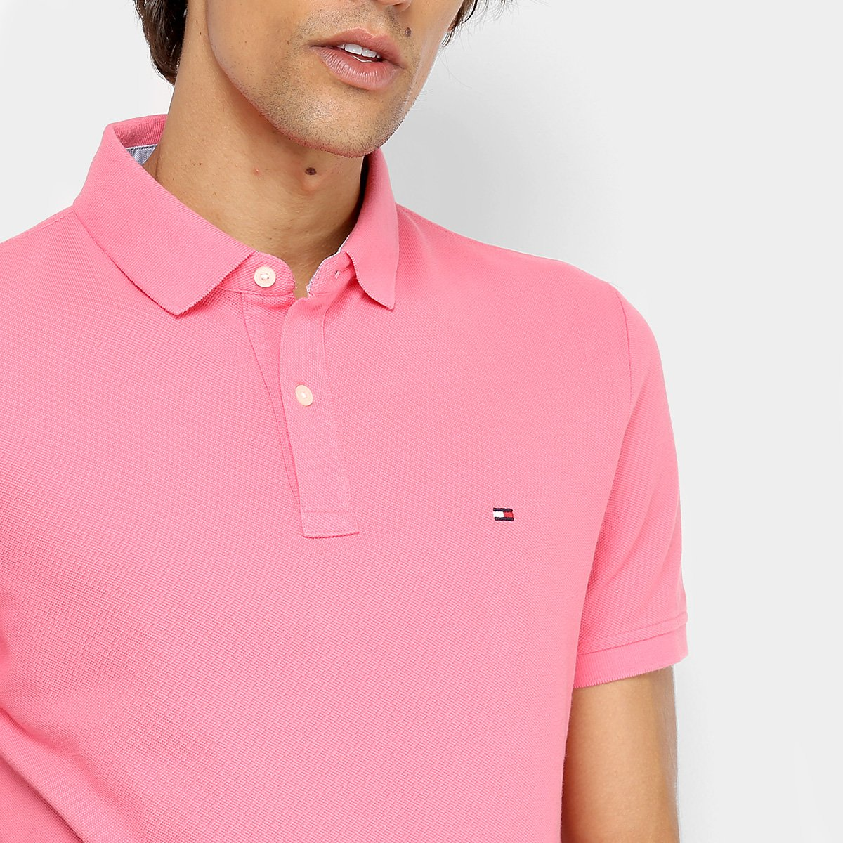 74f058e949 Camisa Polo Tommy Hilfiger Básica Masculina - Rosa - Compre Agora ...