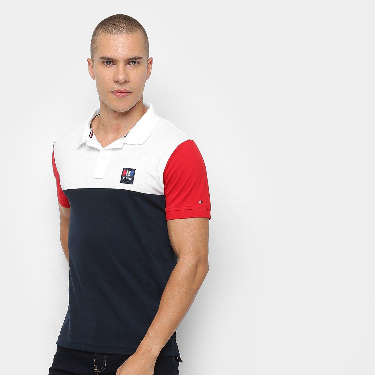 cf16e3a7de Camisa Polo Tommy Hilfiger Color Block Slim Feminina - Branco e ...
