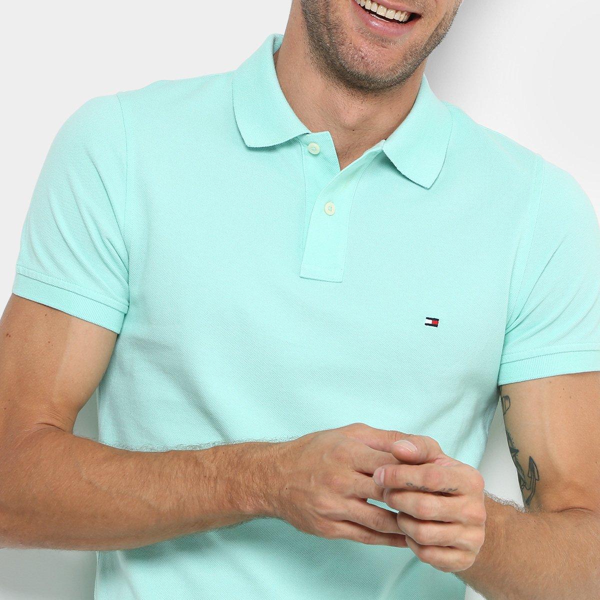 5cd1f802e4d84 ... Camisa Polo Tommy Hilfiger Slim Fit Clássica Masculina - Verde água.  ZATTINI  LANÇAMENTO