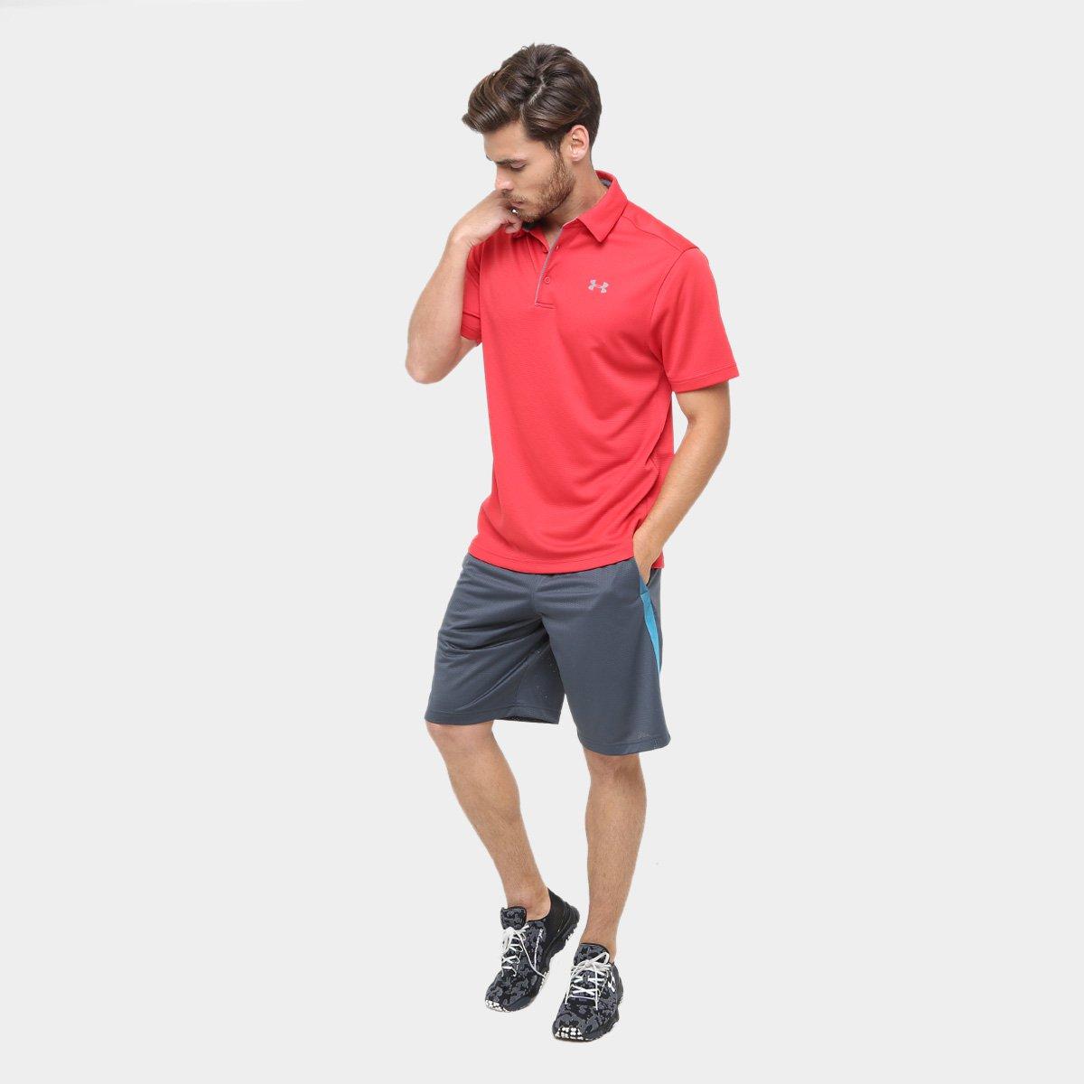 1c910183e4 Camisa Polo Under Armour Tech Masculina - Vermelho e Cinza - Compre ...