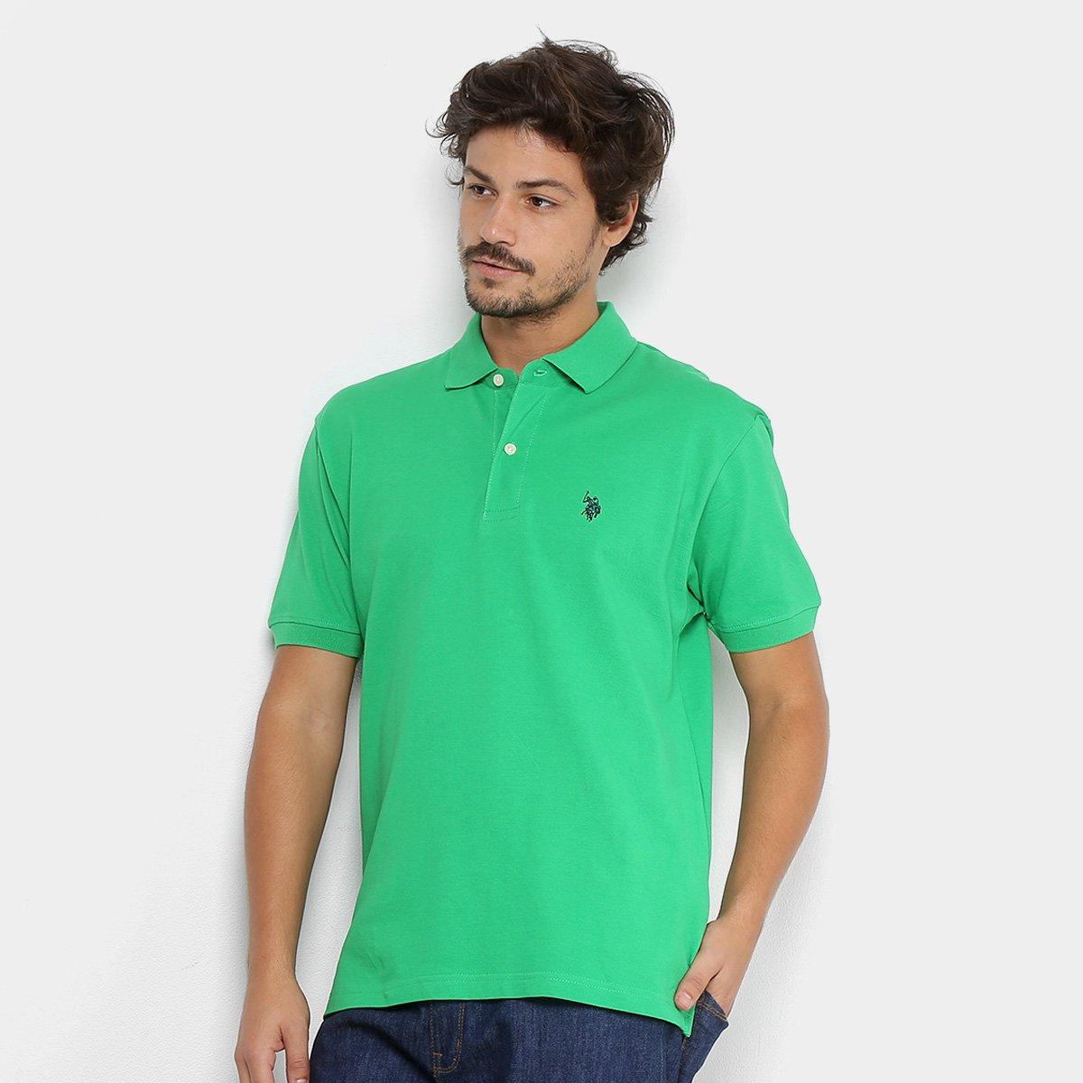 Camisa Polo U.S. Polo Assn Piquet Bordado Masculina - Verde claro ... 754d914ca8e15