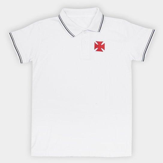 Camisa Polo Vasco Hat Trick Juvenil - Branco