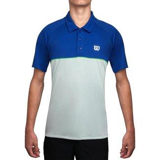 Camisa Polo Wilson Tour 4 Azul Royal e Pérola