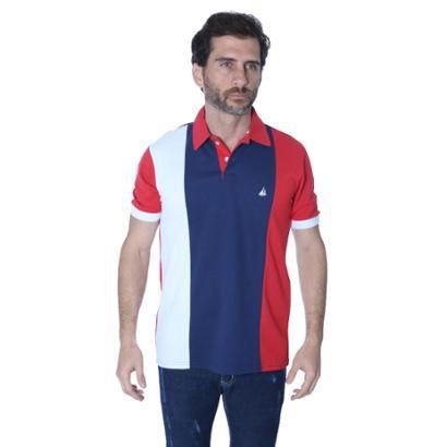 Camisa Polo Yacht Sport Recortada Três Cores em Faixas Masculina - Masculino
