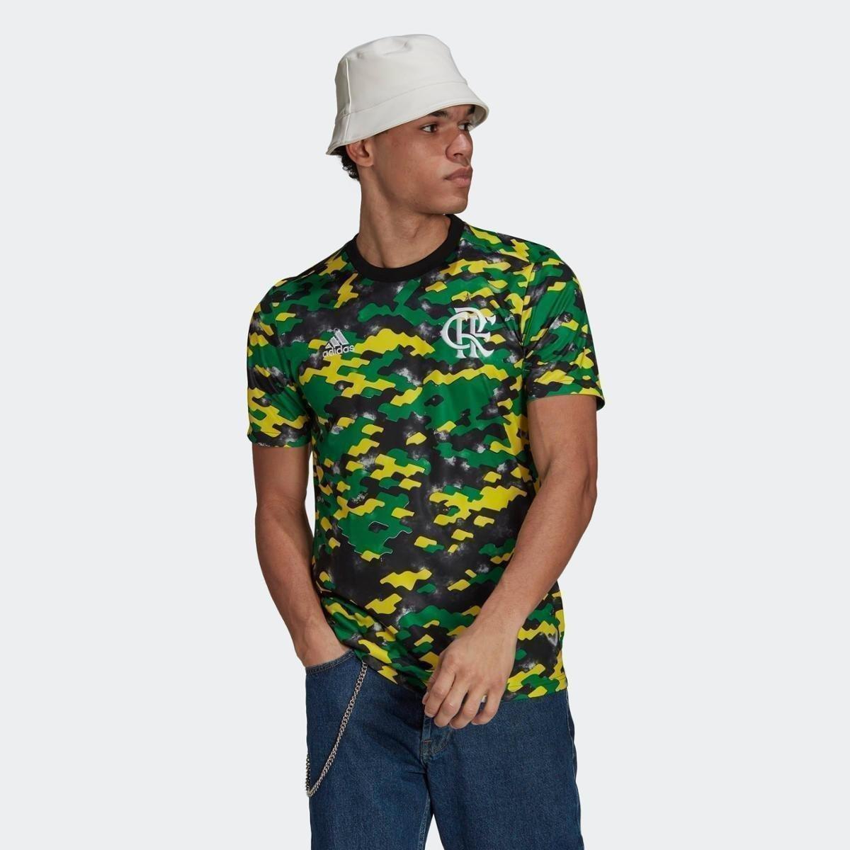 Camisa Pré-Jogo CR Flamengo 1 Adidas - Amarelo+Preto