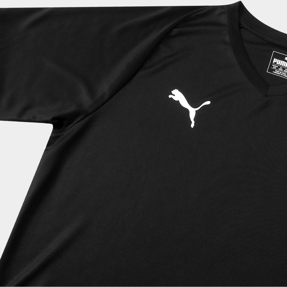 Camisa Puma Liga Jersey Core Masculina - Preto e Branco - Compre ... 9fc19822e29d