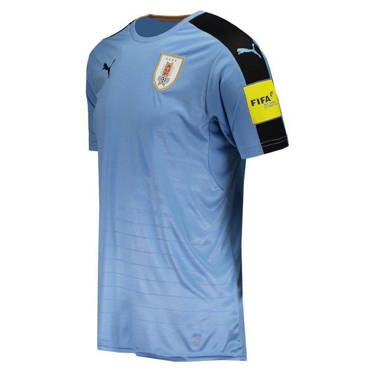 Camisa Puma Uruguai Home 2016 Eliminatórias FIFA Masculina - Azul ... 415124a9c3ef9