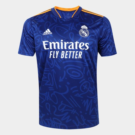 Camisa Real Madrid Away 21/22 s/n° Torcedor Adidas Masculina - Azul+Laranja