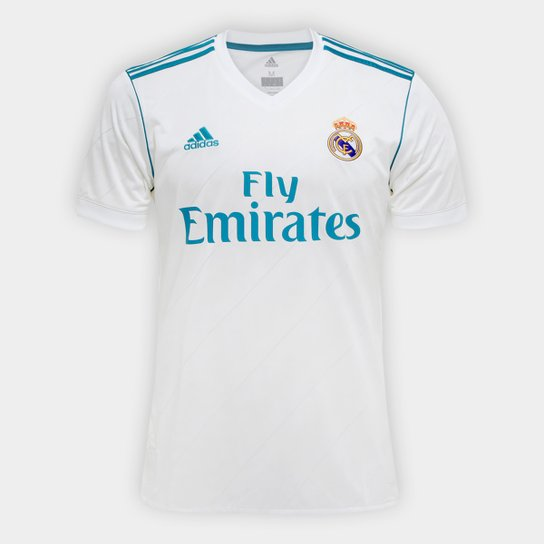Camisa Real Madrid Home 17/18 - Torcedor Adidas Masculina - Branco+Azul Turquesa