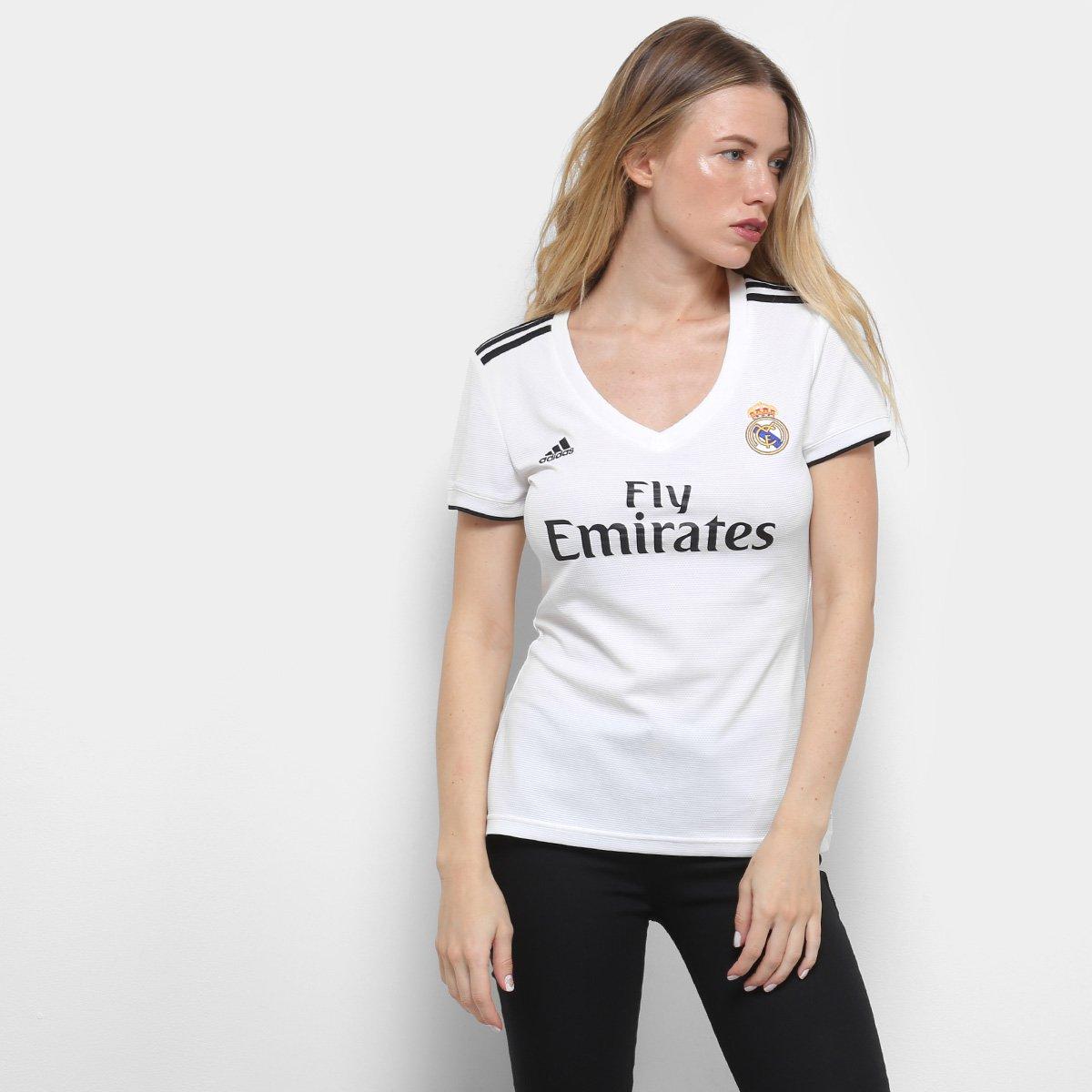 a47e36fc6 Camisa Real Madrid Home 2018 s n° Torcedor Adidas Feminina - Branco e Preto  - Compre Agora