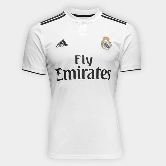 Camisa Real Madrid Home 2018 s/n° Torcedor Adidas Masculina - Branco+Preto