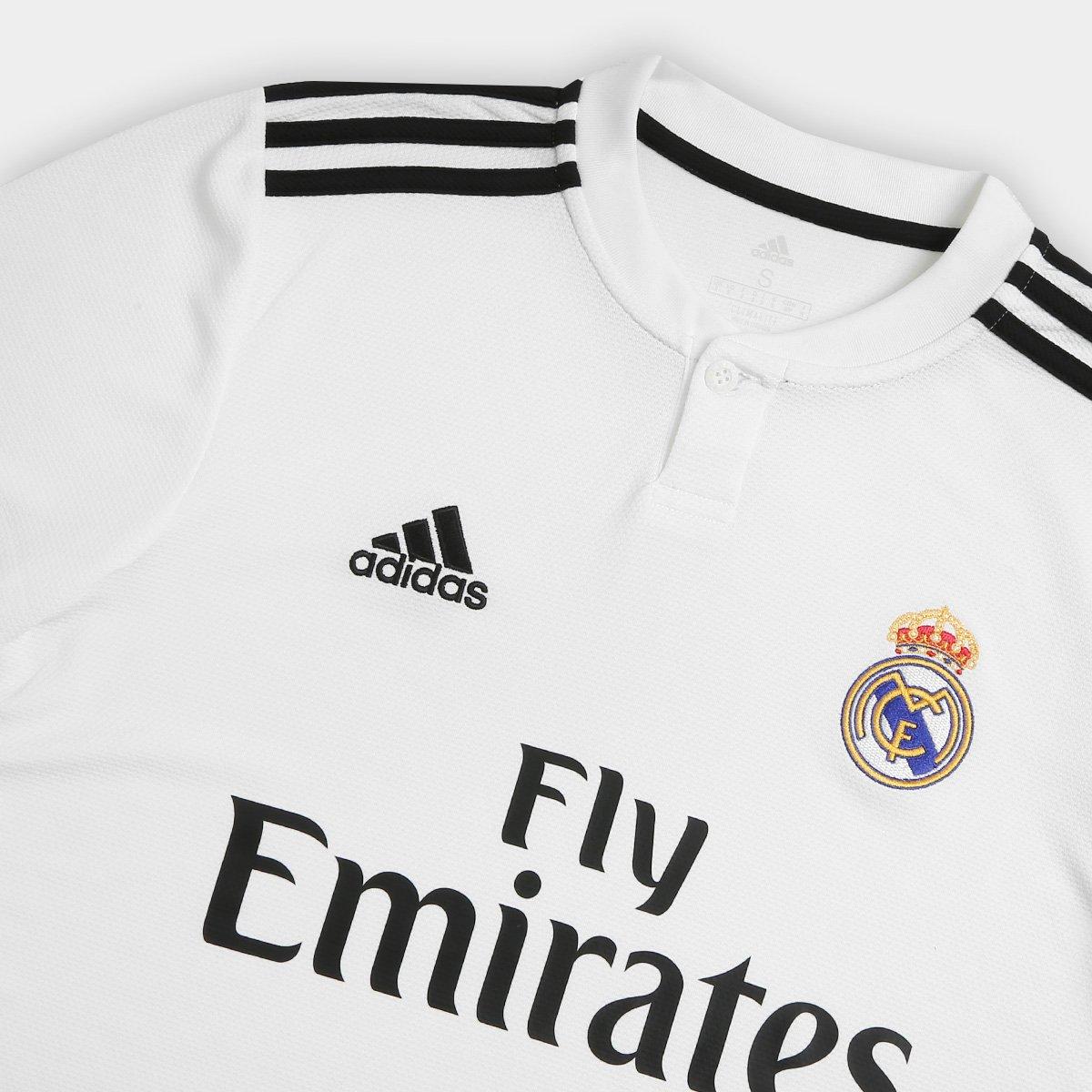 Camisa Real Madrid Home 2018 s n° Torcedor Adidas Masculina - Branco ... fccb604d9de64
