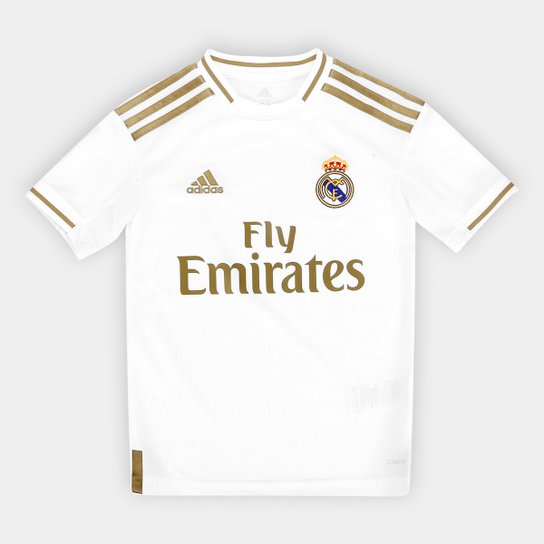Camisa Real Madrid Infantil Home 19/20 s/n° Torcedor Adidas - Branco