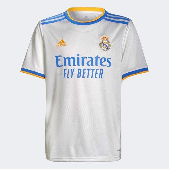 Camisa Real Madrid Juvenil Home 21/22 s/n° Torcedor Adidas - Branco