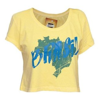 Camisa Retrô Cropped Brasil Mapa
