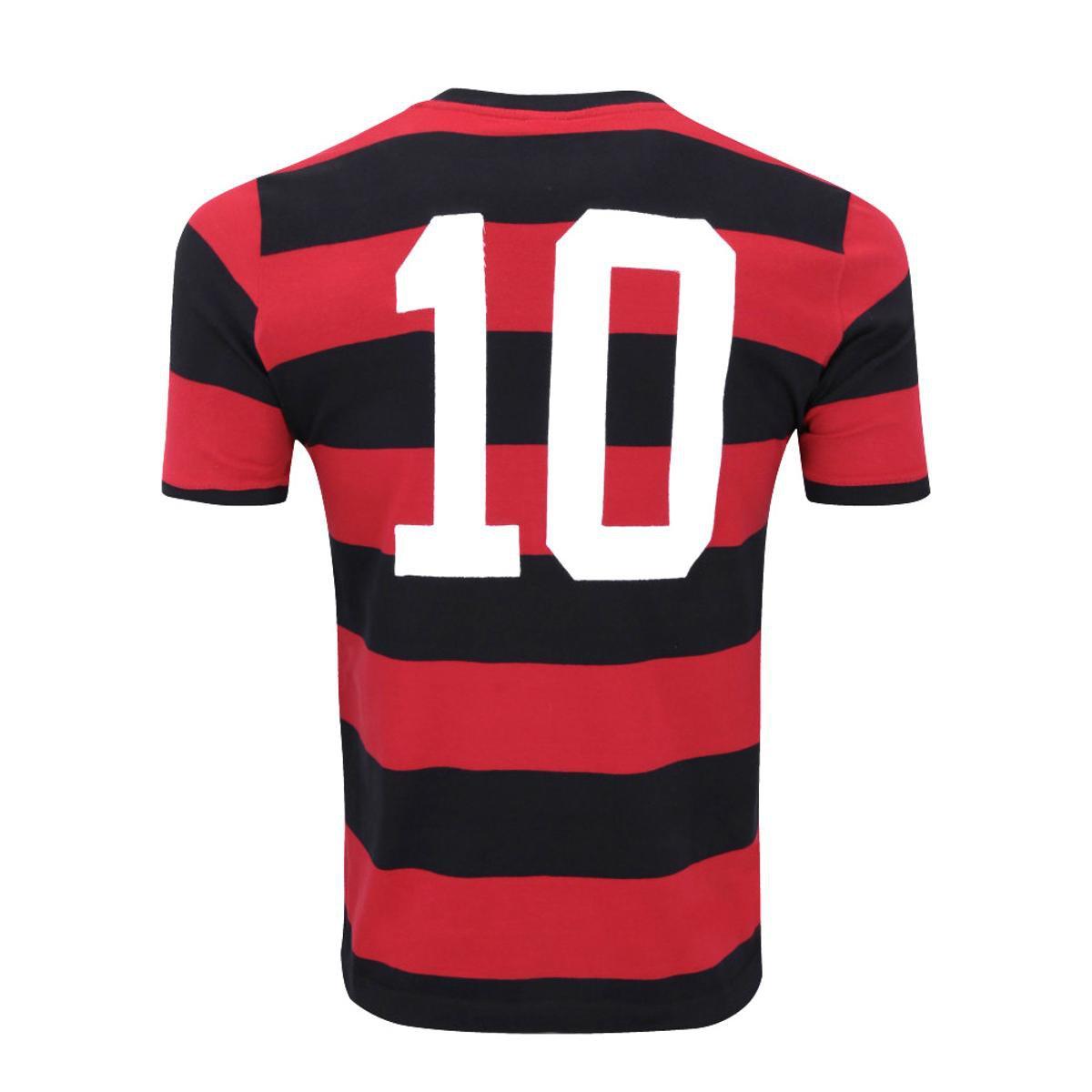 Camisa Retrô Flamengo Réplica Zico Masculina - Preto e Vermelho ... 1385932185df7