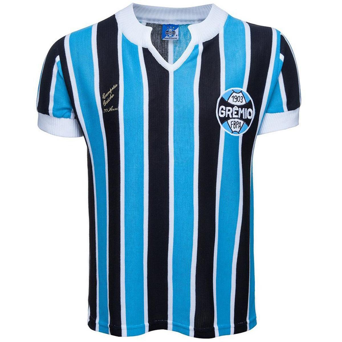 53371efd9a449 Camisa Retrô Grêmio 1977 Masculina - Azul e Preto - Compre Agora ...