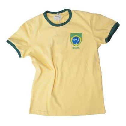 Camisa Retrô Juvenil Brasil Careca Amarela