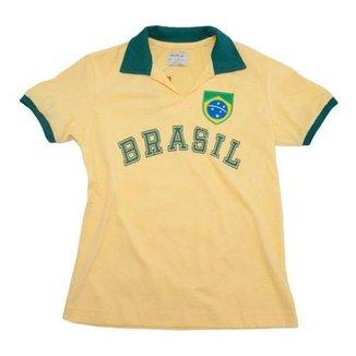Camisa Retrô Juvenil Brasil Fenda Amarela
