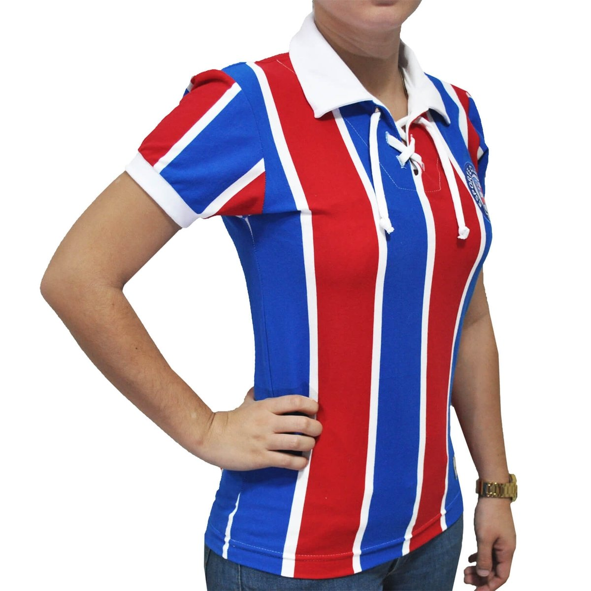 e Mania Feminina Camisa Cordinha Retrô Vermelho Bahia EC Azul 06Rn1RF