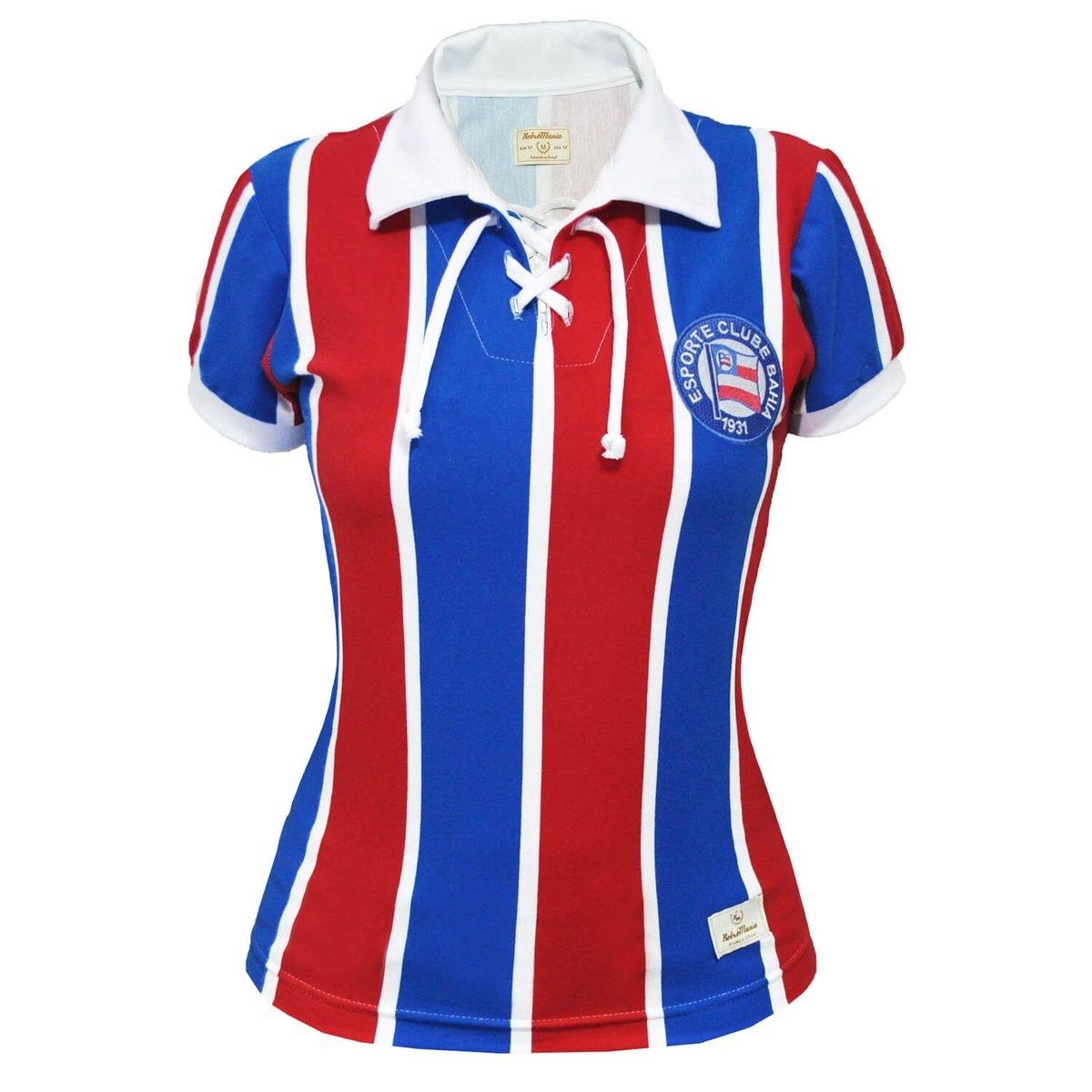 EC Azul Feminina Mania Camisa Vermelho Cordinha e Retrô Bahia xwpvUq7t