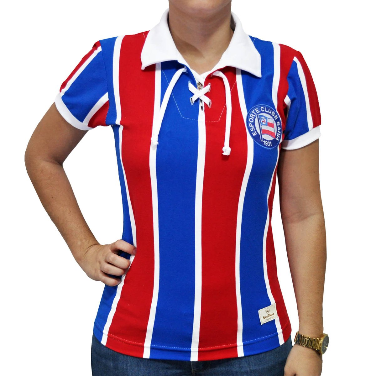 Azul e EC Bahia Camisa Retrô Vermelho Cordinha Feminina Mania HqwYw7g