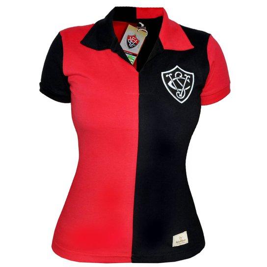 Camisa Retrô Mania Feminina EC Vitória 1908 - Preto+Vermelho