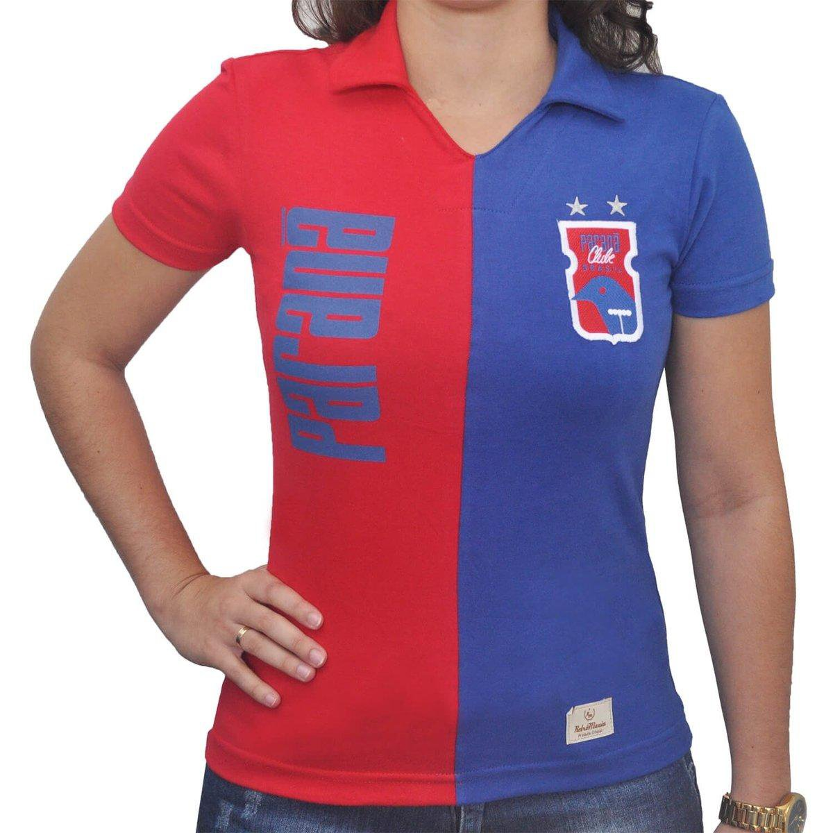 Camisa Retrô Mania Feminina Paraná Clube Anos 90 - Vermelho e Azul ... cabec7cd62fc5