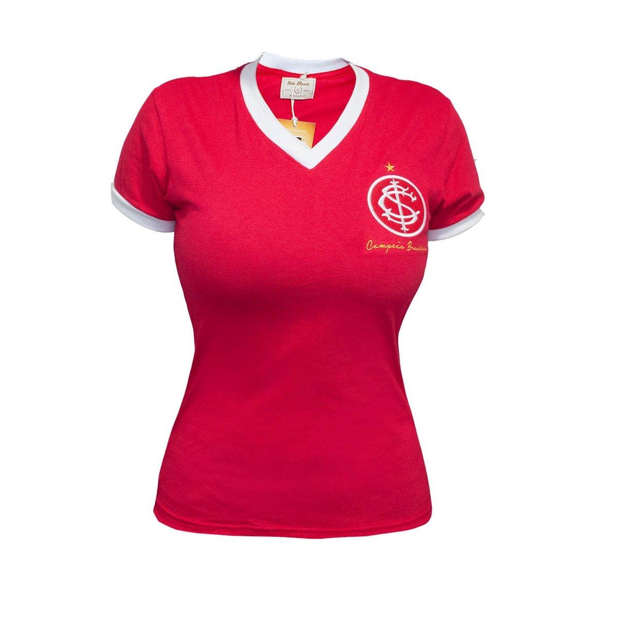 35bbe27ef8 ... Vermelho Retrô Camisa Retrô Camisa Internacional 1975 Mania Feminina  g00qEwZ6a