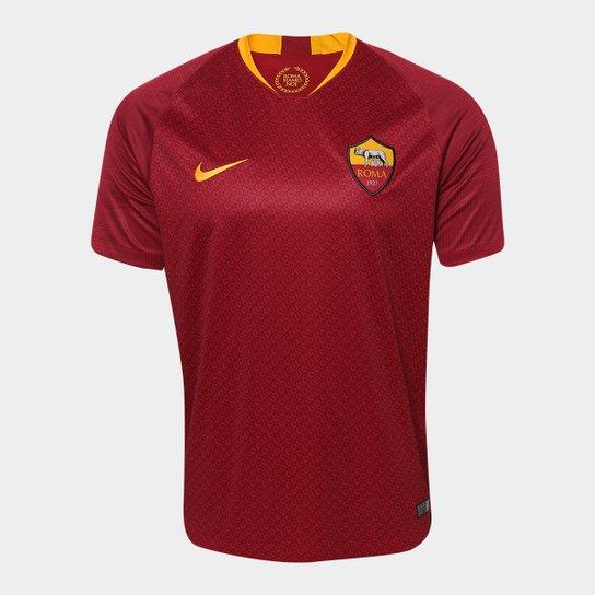 Camisa Roma Home 2018 s/n° - Torcedor Nike Masculina - Vermelho+Dourado
