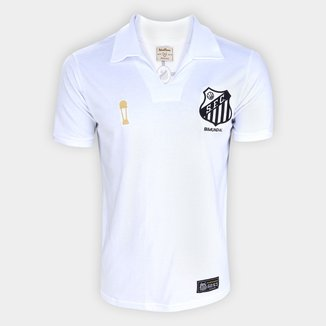 Camisa Santos 1963 Bi Mundial Retrô Mania Masculina