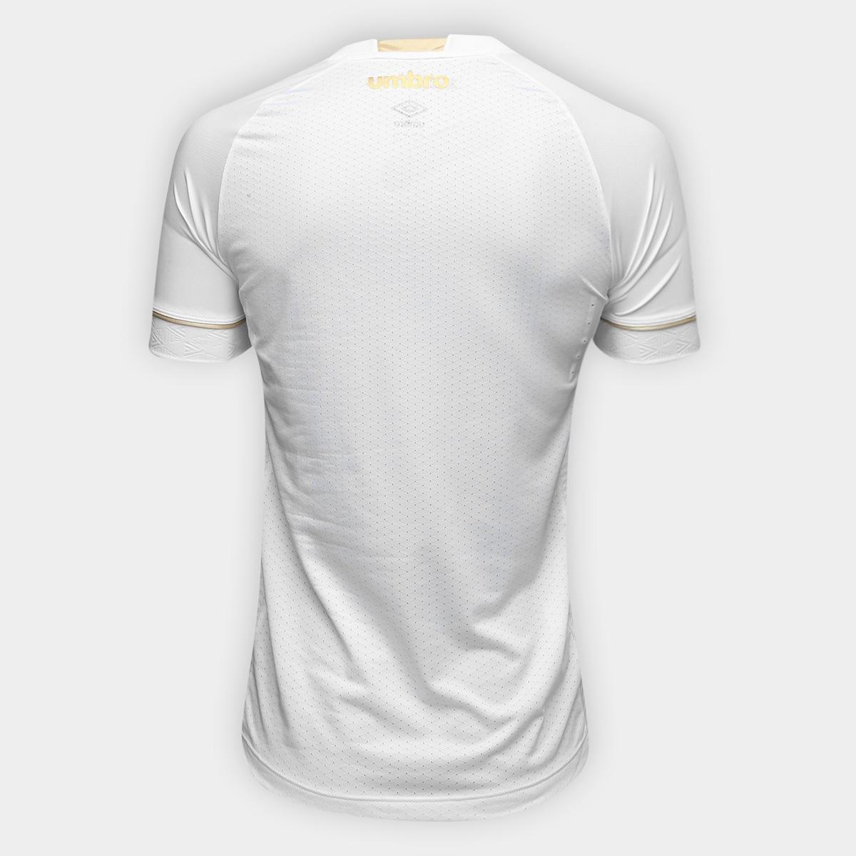 a20f886a14 Camisa Santos I 2018 s n° Jogador Umbro Masculina - Branco e dourado ...