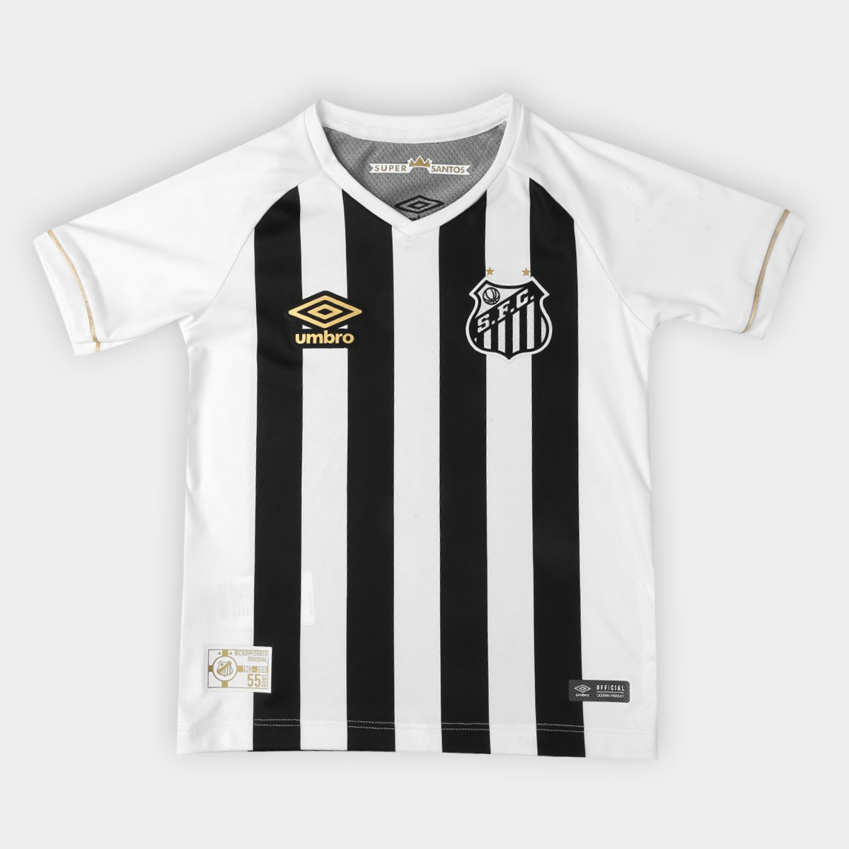 97f076a86b Camisa Santos II 2018 Infantil s n° Torcedor Umbro - Branco e Preto ...