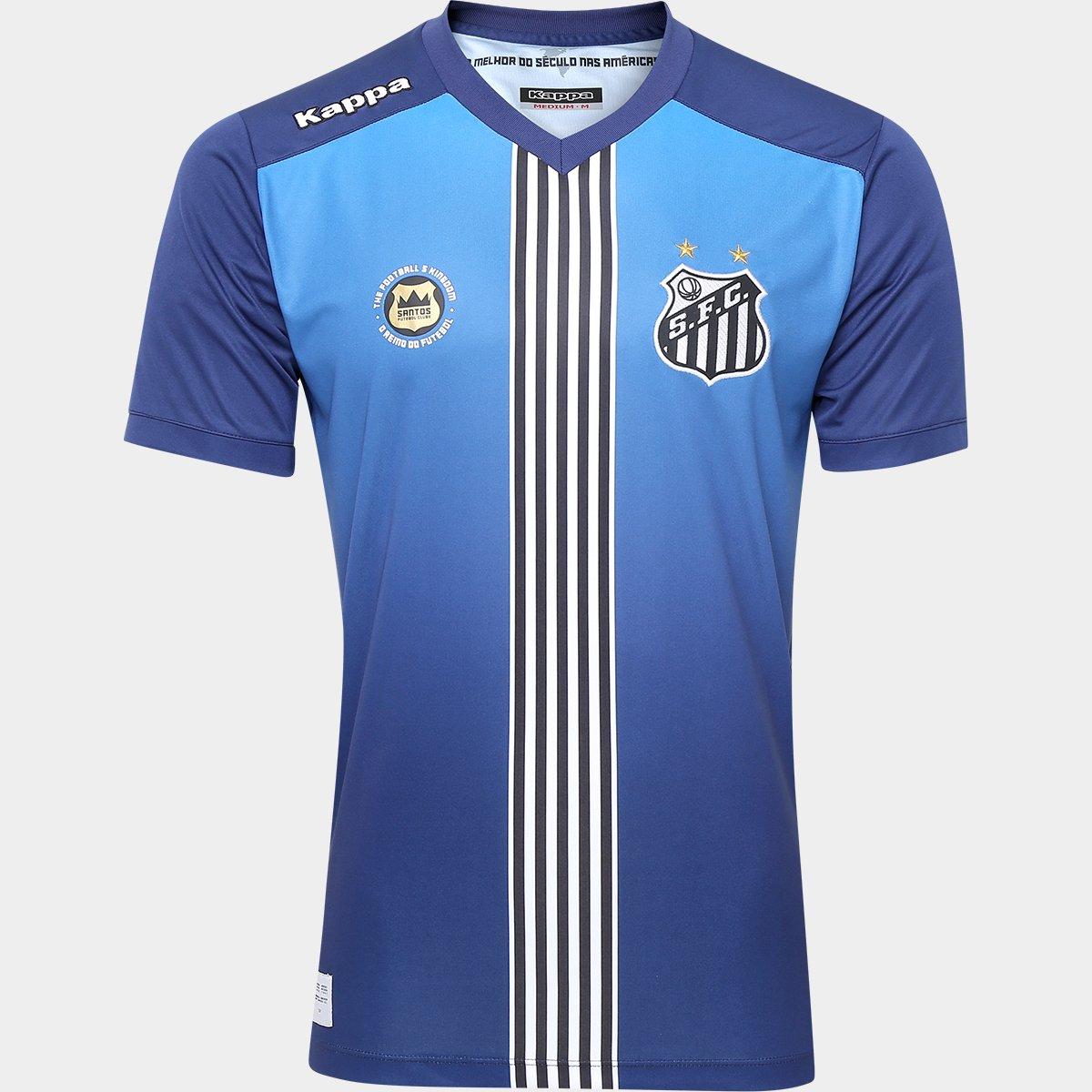 Camisa Santos III 2016 s nº Torcedor Kappa Masculina - Azul e ... 4b87ddf111de1