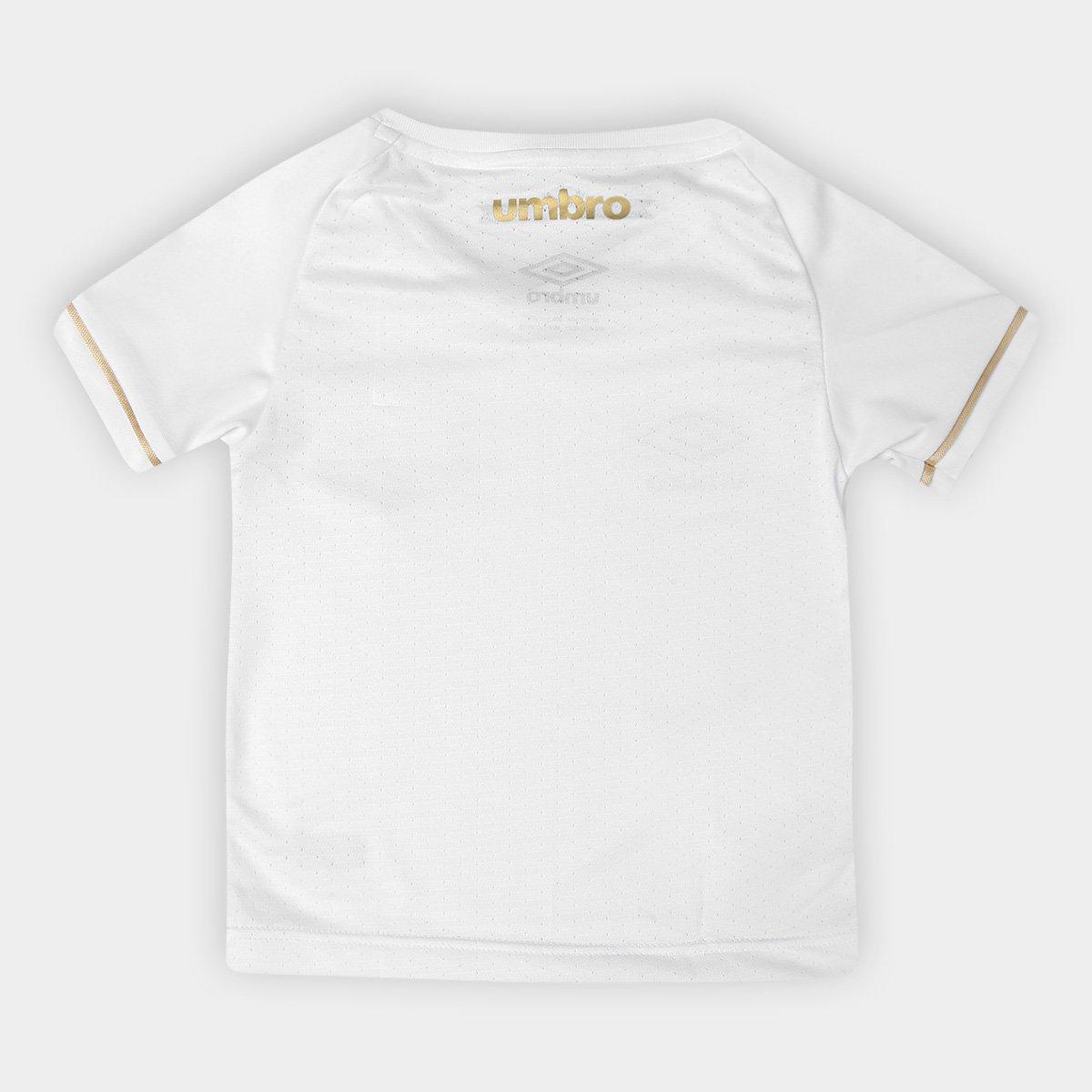 b974472151 ... Torcedor 2018 e Santos Branco n° dourado Umbro s Infantil I Camisa  gBaqwY7q