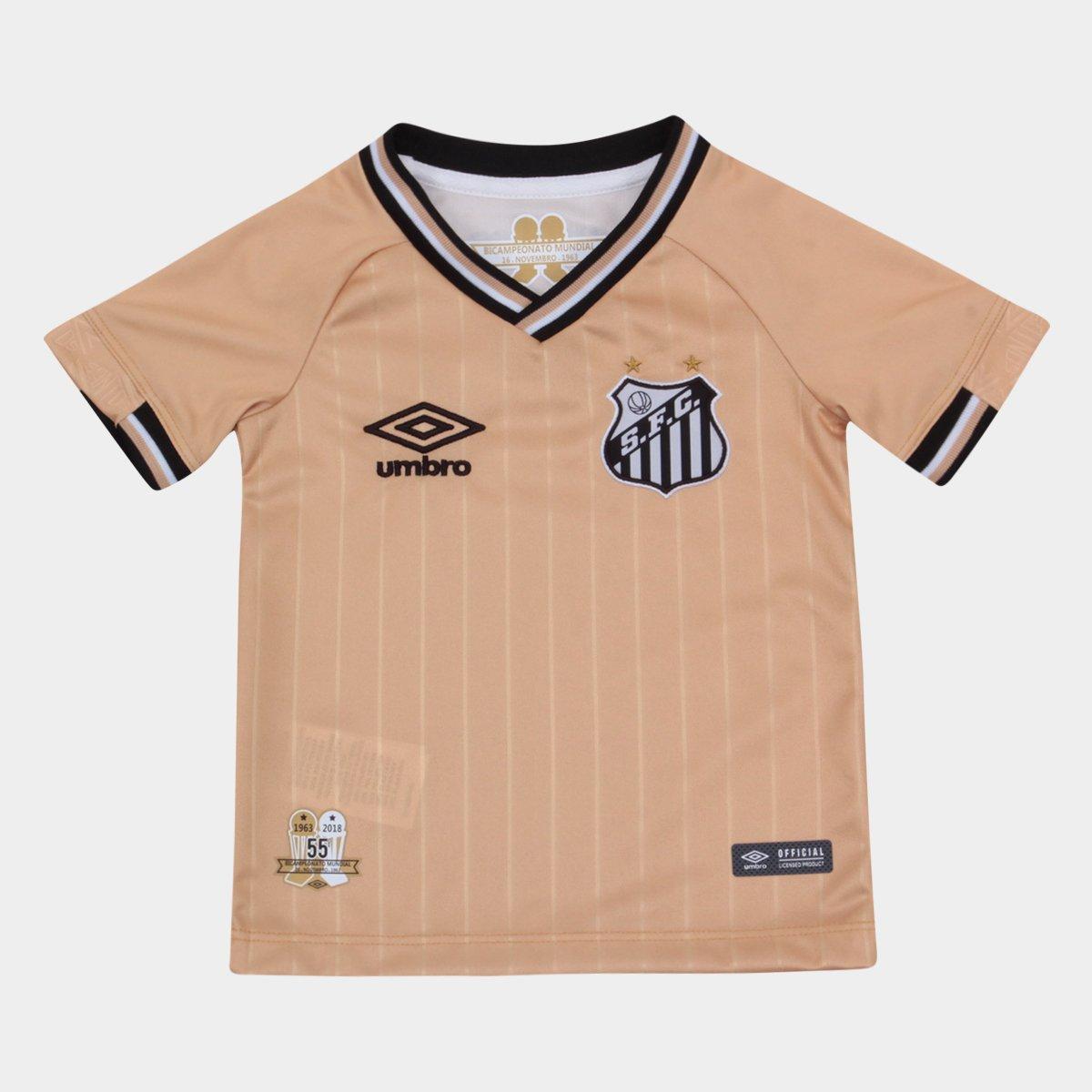 1f1bcf0f92 Camisa Santos Infantil III 2018 s n° - Torcedor Umbro - Dourado ...