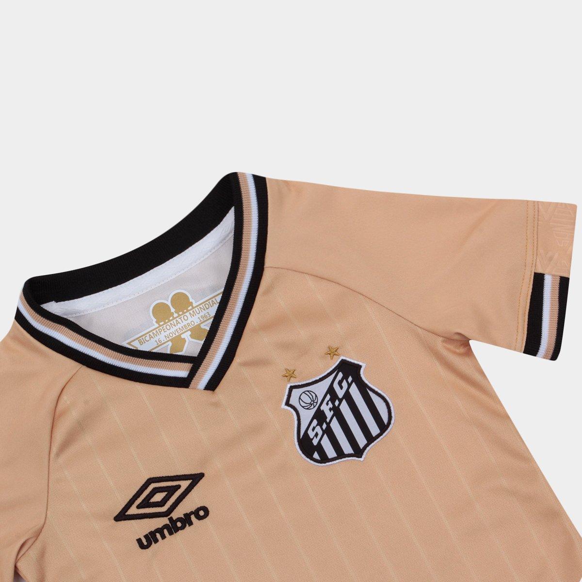Camisa Santos Infantil III 2018 s n° - Torcedor Umbro - Dourado ... 1b72d69fd5c7d