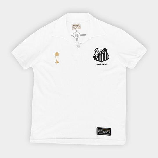 Camisa Santos Juvenil 1963 Bi Mundial Retrô Mania - Branco