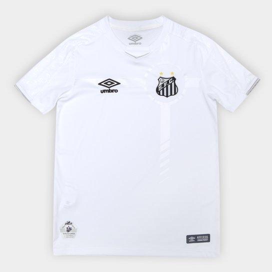 Camisa Santos Juvenil I 19/20 s/nº Torcedor Umbro - Branco+prata