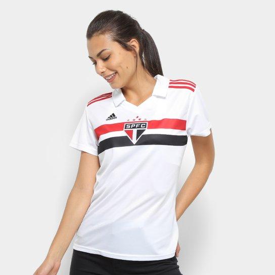 Camisa São Paulo I 2018 s/n° Torcedor Adidas Feminina - Branco+Vermelho