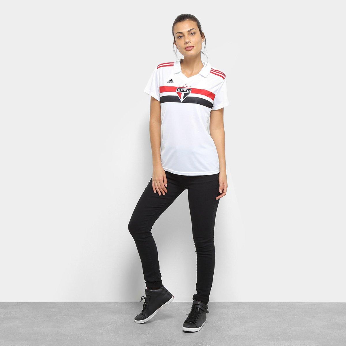 Adidas São Feminina Paulo 2018 Branco e Vermelho n° Torcedor s I Camisa TB0qOww