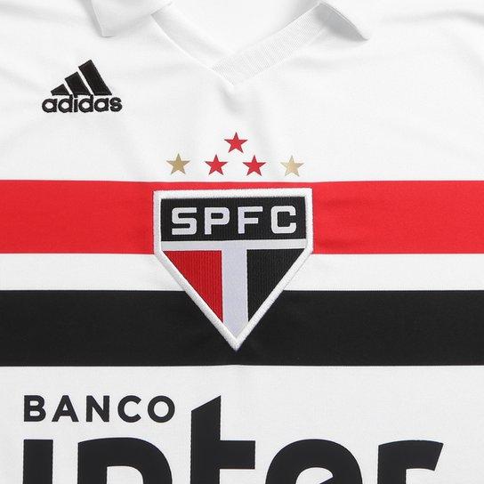Camisa São Paulo I 2018 s/n° Torcedor Adidas Masculina - Branco+Vermelho
