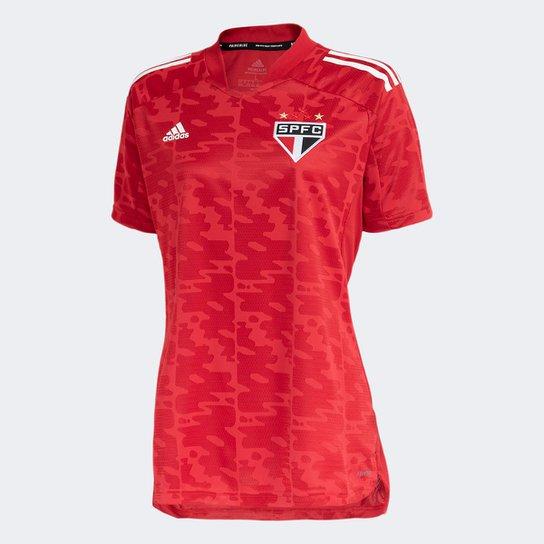 Camisa São Paulo Pré-Jogo 21/22 Adidas Feminina - Vermelho+Branco