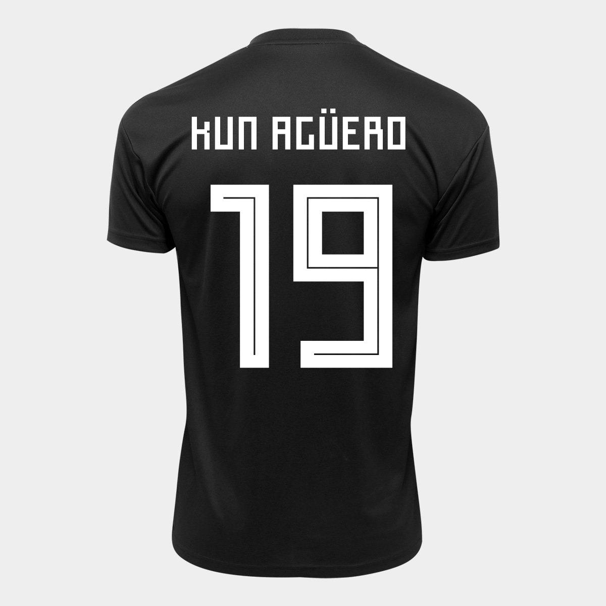 Camisa Seleção Argentina Away 2018 n° 19 Kun Agüero - Torcedor Adidas  Masculina ... 6bb1a2d94fe3d