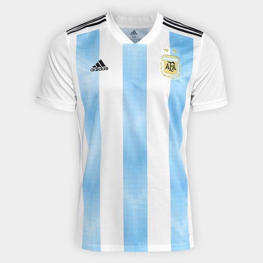 Camisa Seleção Argentina Home 2018 s/n° Torcedor Adidas Masculina - Branco+Azul Claro