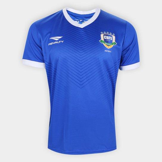 Camisa Seleção Brasil Futsal II 20/21 s/n° Torcedor Penalty Masculina - Azul Royal+Branco