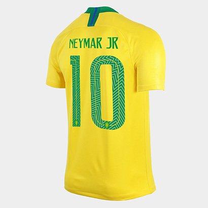 4cb38bd5e Camisa Seleção Brasil I 2018 nº 10 Neymar Jr - Torcedor Nike Masculina -  Amarelo e Verde - Compre Agora